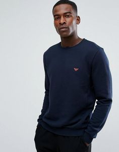 Emporio Armani Crew Sweater with Contrast Logo in Navy - Navy