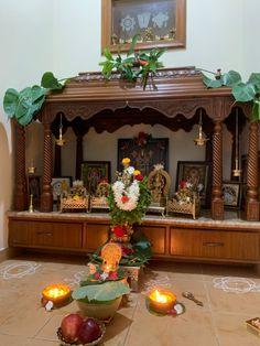 Temple Design For Home, Home Garden Design, Home Room Design, Home Interior Design, House Design, Ethnic Home Decor, Indian Home Decor, Tea Table Design, Pooja Mandir