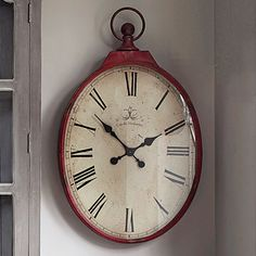 Red Oval Clock Clocks Telephones Home Accents