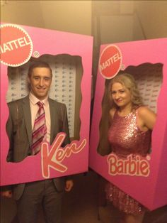 Barbie and Ken. In the box. Fancy dress idea