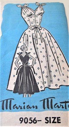 1950s CUTE Summer Wrap Dress Pattern MARIAN MARTIN 9056 Very Marilyn Moroe Style Flirty Tie Shoulders V Neckline Full Skirt Dress Bust 32 Vintage Sewing Pattern