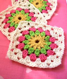 Crochet Pattern Field of Flowers Afghan Block PDF by WoolnHook