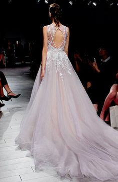 Hayley Paige 'Leah' Floral Sequin V-Neck Tulle Ballgown (In Stores Only) - Nordstrom