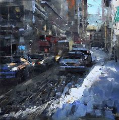 Montreal Snow Bank by Mark Lague Oil ~ 16 x 16