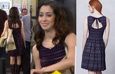 """Cristin Milioti as """"The Mother"""" wore this purple lace dress with a cutout back in the season finale of How I Met Your Mother (episode 8.24) Anthropologie Sunstream Eyelet Dress - $79.95 (on sale) http://himymstyle.com/post/51271508787/cristin-milioti-as-the-mother-wore-this-purple"""