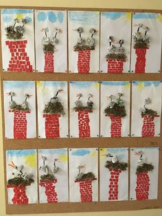 Storks on fireplace with newspaper # Stö . - Storks on chimney with newspaper # Kindergartenlessonideas Informations Ab - Diy And Crafts, Crafts For Kids, Arts And Crafts, Paper Crafts, Classroom Art Projects, Art Classroom, Kindergarten Lessons, Art Lessons Elementary, Arte Elemental