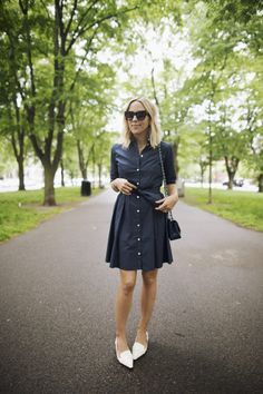 Damsel In Dior | Dress, Alicia Bell; Flats, Tory Burch; Bag, Chanel; Sunnies, Celine