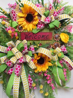 Pink and Green Sunflower Burlap Mesh Spring and Summer Wreath by WilliamsFloral on Etsy https://www.etsy.com/listing/385298870/pink-and-green-sunflower-burlap-mesh