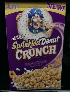 Cap'n Crunch's Sprinkled Donut Crunch Cereal, oz: Cap'n Crunch is a product line of corn and oat breakfast cereals introduced in 1963 and manufactured by Quaker Oats Company, a division of PepsiCo since New Cereal, Crunch Cereal, Granola Cereal, Cap'n Crunch, Cereal Food, Squishies, Types Of Cereal, Sprinkle Donut, Cereal Killer
