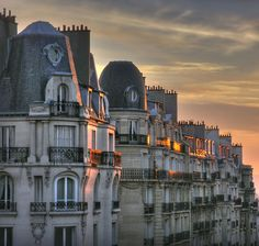 Sunset Balconies in Paris, France.