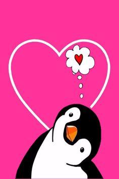 Penguin Art, Penguin Love, Cute Penguins, Penguin Illustration, Friendship Love, Cute Animal Drawings, Rock Crafts, Rock Art, Easy Drawings