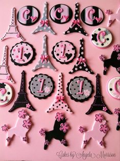 Not a cookie, but could be...ParisOh La La cupcake toppers by CakesbyAngela on Etsy, $45.00