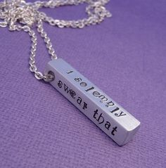 Harry Potter Inspired - I Solemnly Swear That I Am Up To No Good - A Hand Stamped Aluminum Bar Necklace. $18.95, via Etsy.