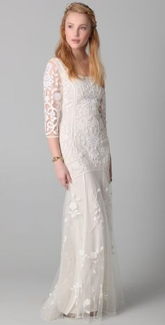 love the long sleeves on this Temperley London wedding gown $2,030