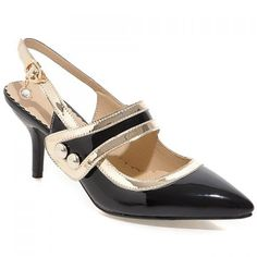 Stylish Women's Pumps With Velcro and Slingbacks Design