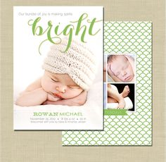Holiday Birth Announcement photoshop card template - Spirits Bright