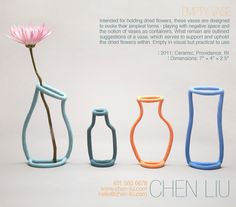 Intended for holding dried flowers, these vases are designedto evoke their simplest forms - playing with negative space andthe notion of vases as containers. What remain are outlined suggestions of a vase, which serves to support and uphold the dried … Ceramic Clay, Ceramic Vase, Ceramic Pottery, Diy Clay, Clay Crafts, Arts And Crafts, Colorful Apartment, Cute Bedroom Decor, Clay Art Projects