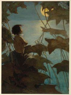 """""""He looked up at the broad yellow moon and thought that she looked at him""""   Jessie Wilcox Smith illustrations for """"Water-Babies"""""""
