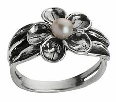 Or Paz Sterling Cultured Freshwater Pearl Flower Ring. Got to have that flower ring! <3