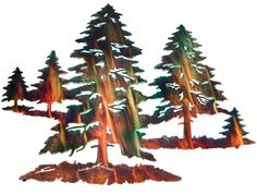 """18"""" Multiple Pine Trees Wall Art www.rusticeditions.com"""