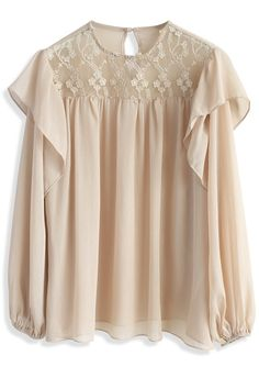 Enthralling Flowers Chiffon Sheer Top in Beige - New Arrivals - Retro, Indie and Unique Fashion