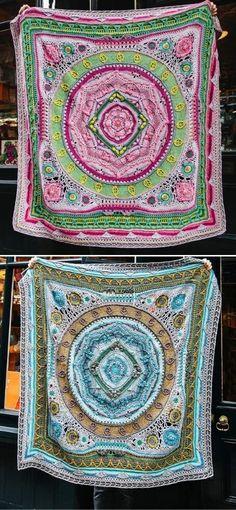 d'Histoire Naturelle Scheepjes CAL 2020 Crochet Mandala Pattern, Crochet Patterns, Afghan Crochet, Crochet Granny, Classic Blankets, Christmas Crochet Blanket, Afghan Stitch, Weighted Blanket, Mandala Design
