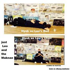 How to use the sleeping maknae... demonstration by Leo...Poor Hyuk #VIXX Allkpop Meme Center