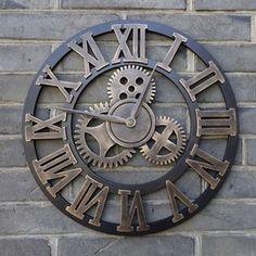 Grand mur horloge la main Vintage rustique 45cm en par Hyvongshop