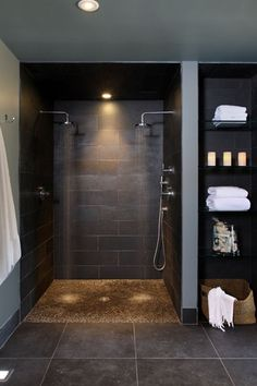 Contemporary Master Bathroom with Master bathroom, Handheld showerhead, Pebblino congo river pebble stone mosaic, Rain shower