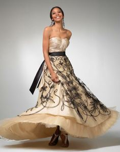 Clarisse prom dress 1514 - Champagne ball gown with black sash for 2011 | Promgirl.net