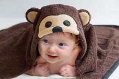 Baby Monkey Baby Hooded Towel Li'l Monkey by ChiChateau on Etsy