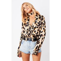 Never Fully Dressed Chester Shirt Leopard (£59) ❤ liked on Polyvore featuring multicolour