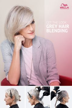 Get the Look: Grey Hair Blending Give your clients a gorgeous grey with this step-by-step video for blended grey hair color. Watch it now for Wella's professional tips using gorgeous Illumina color. For when I eventually need this ….