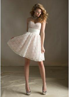 Strapless Sweetheart neckline lace short bridesmaid dress
