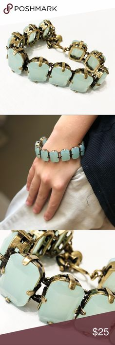 """J. Crew Seafoam Green Stone Bracelet Gorgeous sea foam green stone bracelet set in brass,  from J. Crew retail. In fabulous condition. 7-1/2"""" long. Questions? Please ask! Sorry, no trades. Bundle for a discount! Ships SAME day (EST) - New name brand jewelry added daily so check back often! J. Crew Jewelry Bracelets"""