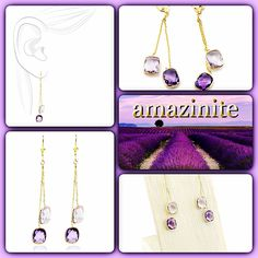 #perfect #purple #pastel. #statement #size, #spring #scheme. #lavender and #deep purple #amethyst #earrings. #always 100% #real #genuine #gemstones #handset into #rich #14k #gold. #amazinite #jewelry - #fashion #forward.   #artisan #design(ed)  http://amazinite.com