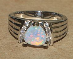white fire opal Cz ring gemstone silver plate jewelry Sz 8 chic cocktail style K #Cocktail