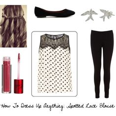 How To Dress Up Anything: Spotted Lace Blouse