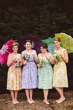 Mix and Match Bridesmaid Dress Ideas | Bridal Musings Wedding  Blog 27  OBSESSED with mix-match floral bridesmaids.