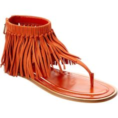 Tod's Fringed Leather Sandal (392475702) ($555) ❤ liked on Polyvore featuring shoes, sandals, nocolor, fringe shoes, leather fringe shoes, leather shoes, orange shoes and tods sandals