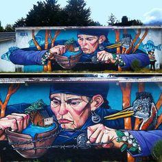"""632 curtidas, 2 comentários - @tschelovek_graffiti no Instagram: """"@auka.arte inLago Puelo, Argentina. #aukaarte #auka #LagoPuelo #igersargentina #streetartargentina…"""""""