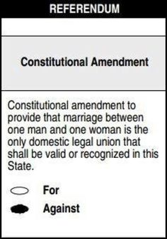 This is what the North Carolina ballot will look like. Vote against Amendment Number One for fairness to all couples and the betterment of NC.