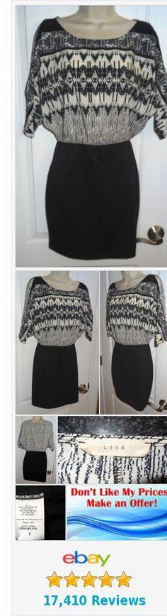 Lush Dress Black Skirt Black Ivory Print Top Slim Pencil Women's Sz Small S - SB   eBay http://www.ebay.com/itm/-/253023990263?