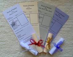 Wedding Words of Wisdom Cards Scrolls Advice Favour Favor Table Games #Unbranded