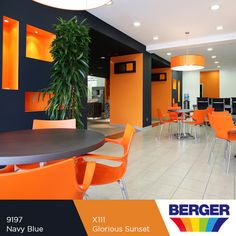 We're loving this office space colour combination. This look is sophisticated but also creates playful and creative atmosphere. #BergerCaribbean #ColourInspiration #ColourCombination #ColourComplements