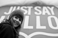 Under a tarp, up a ladder, Artist Sara is putting the finishing touches on our Homeless In Seattle 'JUST SAY HELLO' sign!!!  Sara YOU are something AWESOME!!!   Fremont 11/15/2013 Just Say Hello, Hello Sign, Volunteer Work, Ladder, Seattle, It Is Finished, Sayings, Awesome, Artist