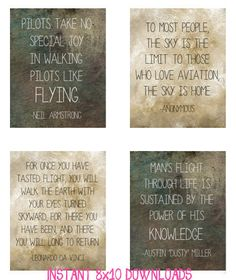 Printable Instant Download Digital File Art - Aviation Pilot Office Quotes