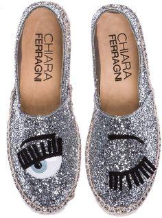 Chiara Ferragni Espadrilles Wink Glitter Canvas in Silver