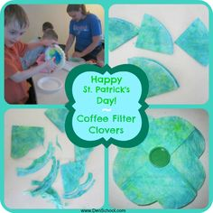 Teach children about the color wheel while making these cute clovers from coffee filters!