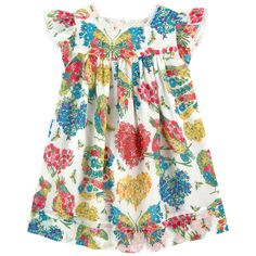 Cotton voile Pleasant to the touch Light item High waist dress Square neckline Short sleeves Gathered waistband Flared hem Buttons in the back Logo buttons Fancy print Patterns can be placed randomly on each dress Rick-rack braid on the trims - $ 430